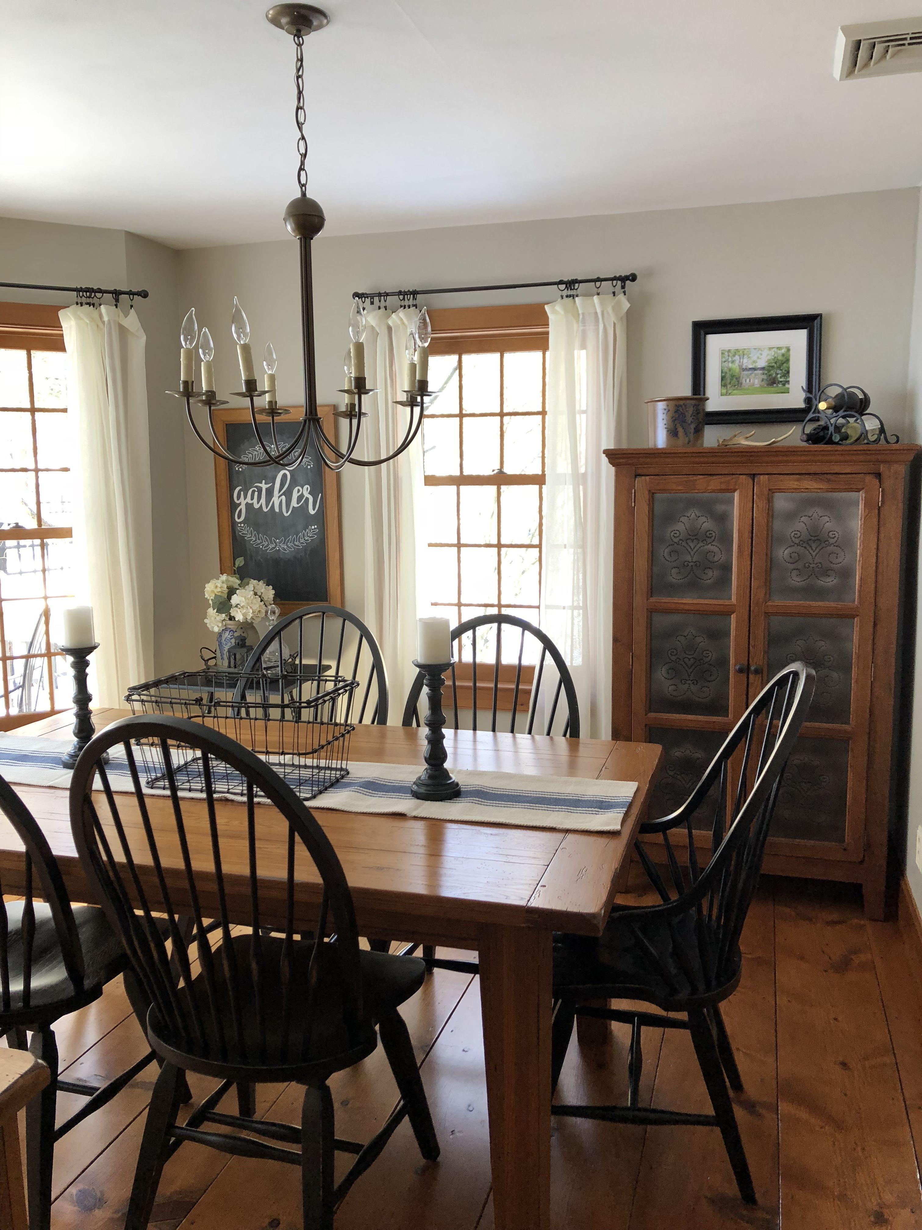 Benjamin Moore Revere Pewter The Best Gray For Wood Trim Farm House Living Room Farmhouse Dining Farmhouse Dining Room Table #revere #pewter #living #room #ideas