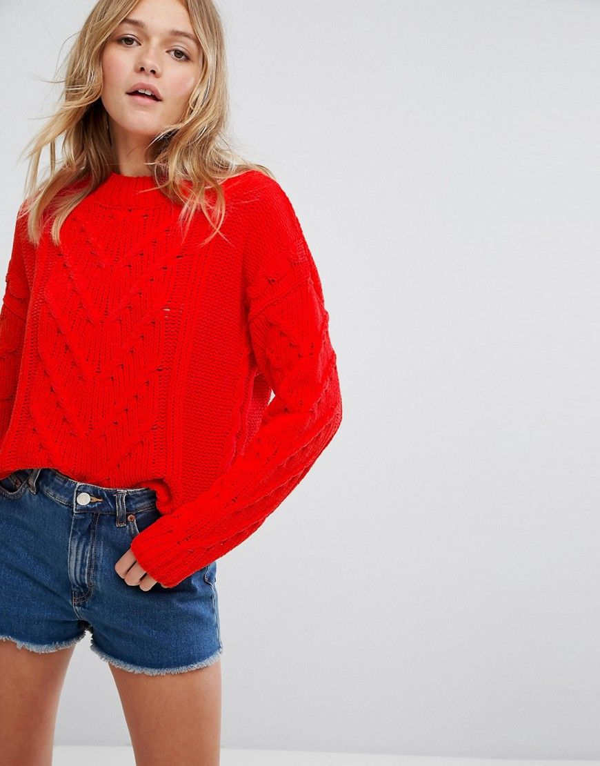 Pull Bear Chenille Cable Knitted Sweater - Red  01dbd4340