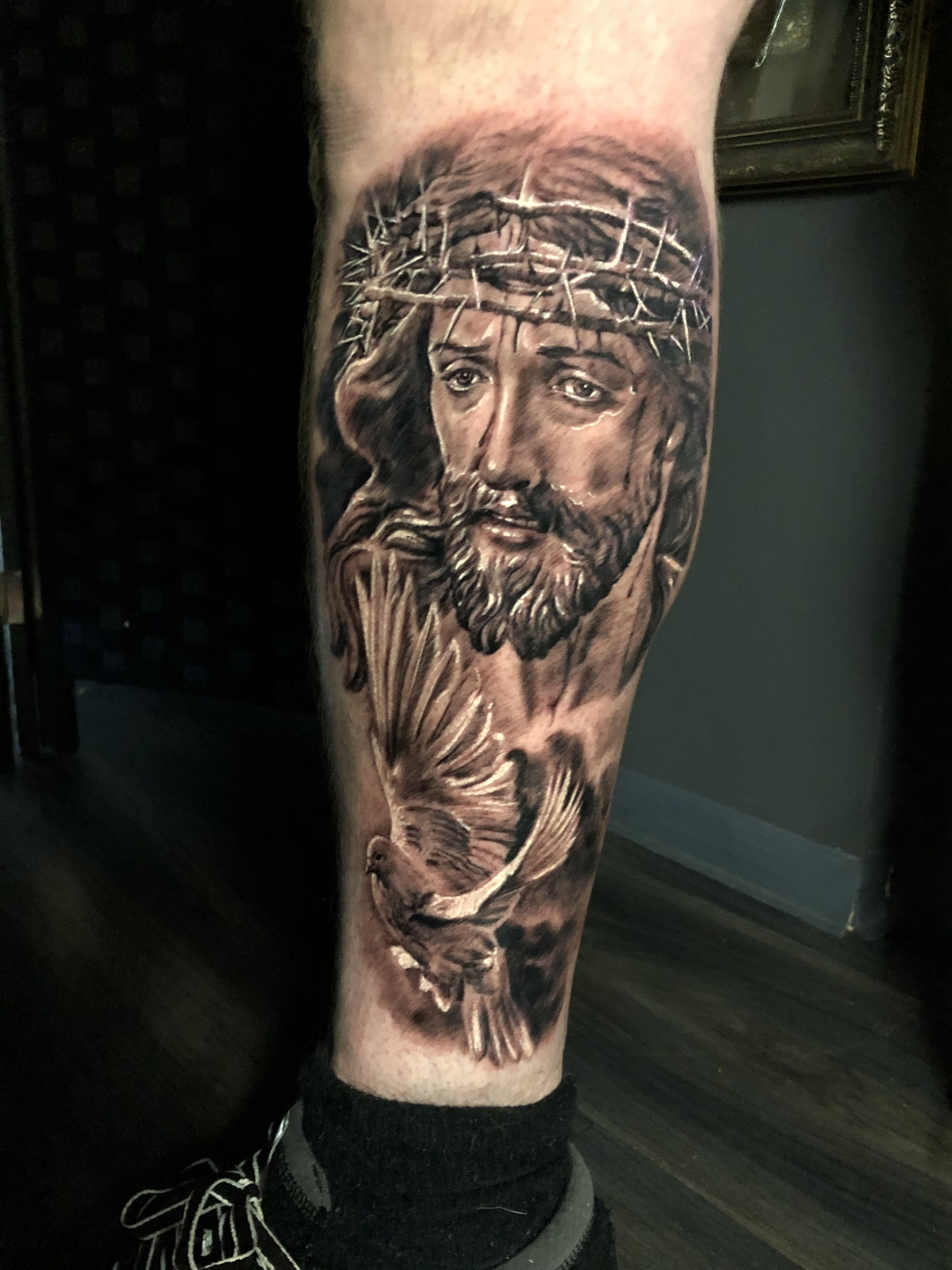 Jesus tattoo by Pali. Limited availability at Redemption