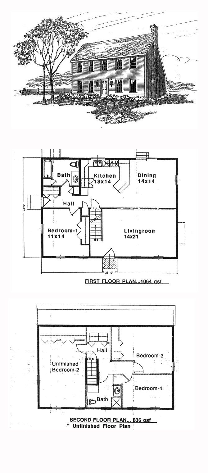 Saltbox Style House Plan 94007 With 4 Bed 2 Bath Colonial House Plans Saltbox Houses House Floor Plans