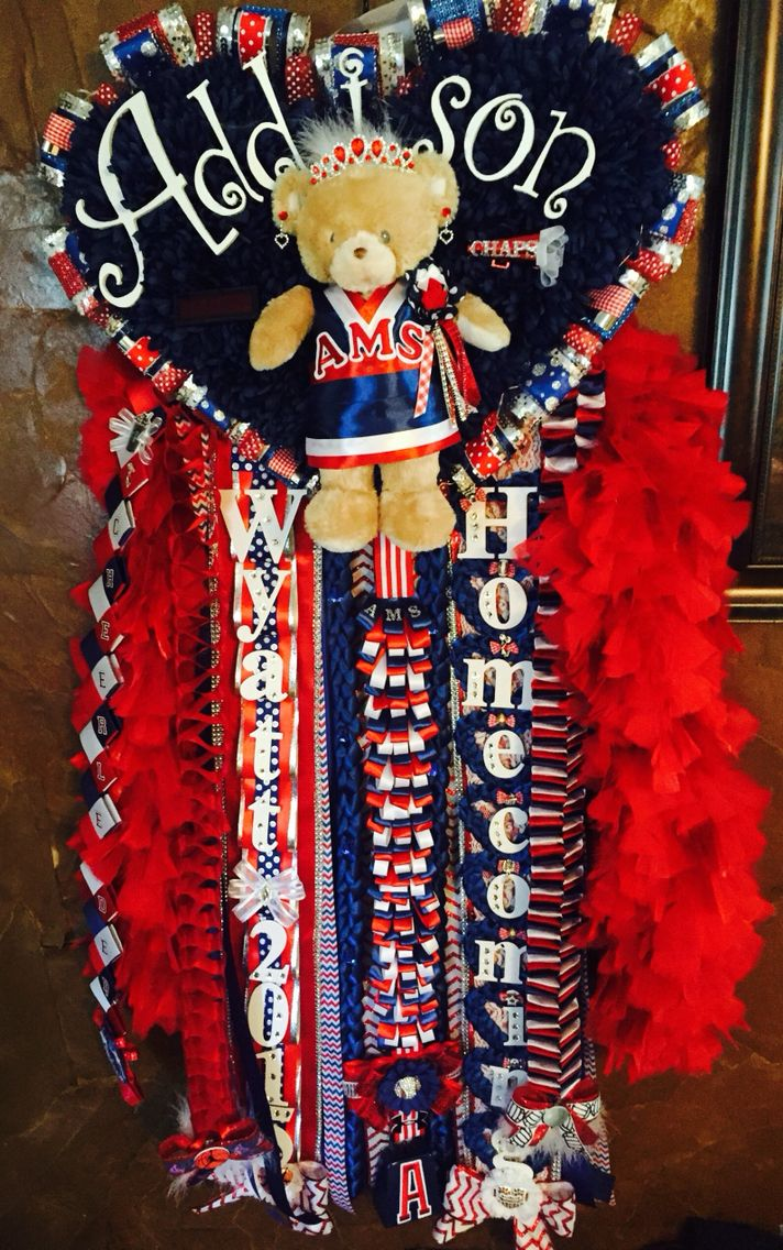 Big Homecoming Mum Heart Cheerleader Bear Huge Hoco Cheer Red Navy