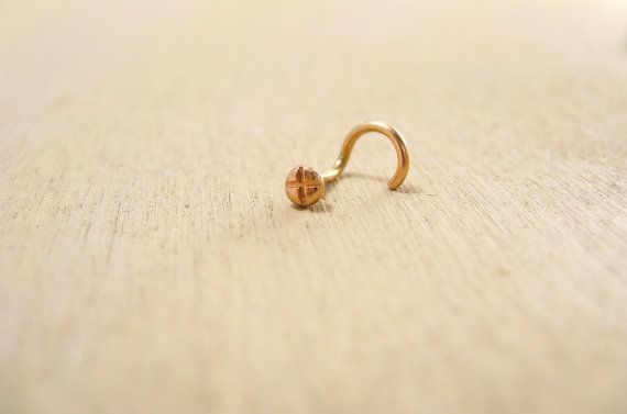 14 karat rose gold nose stud - handmade in San Francisco - 100% recycled gold - Sharon Z Jewelry