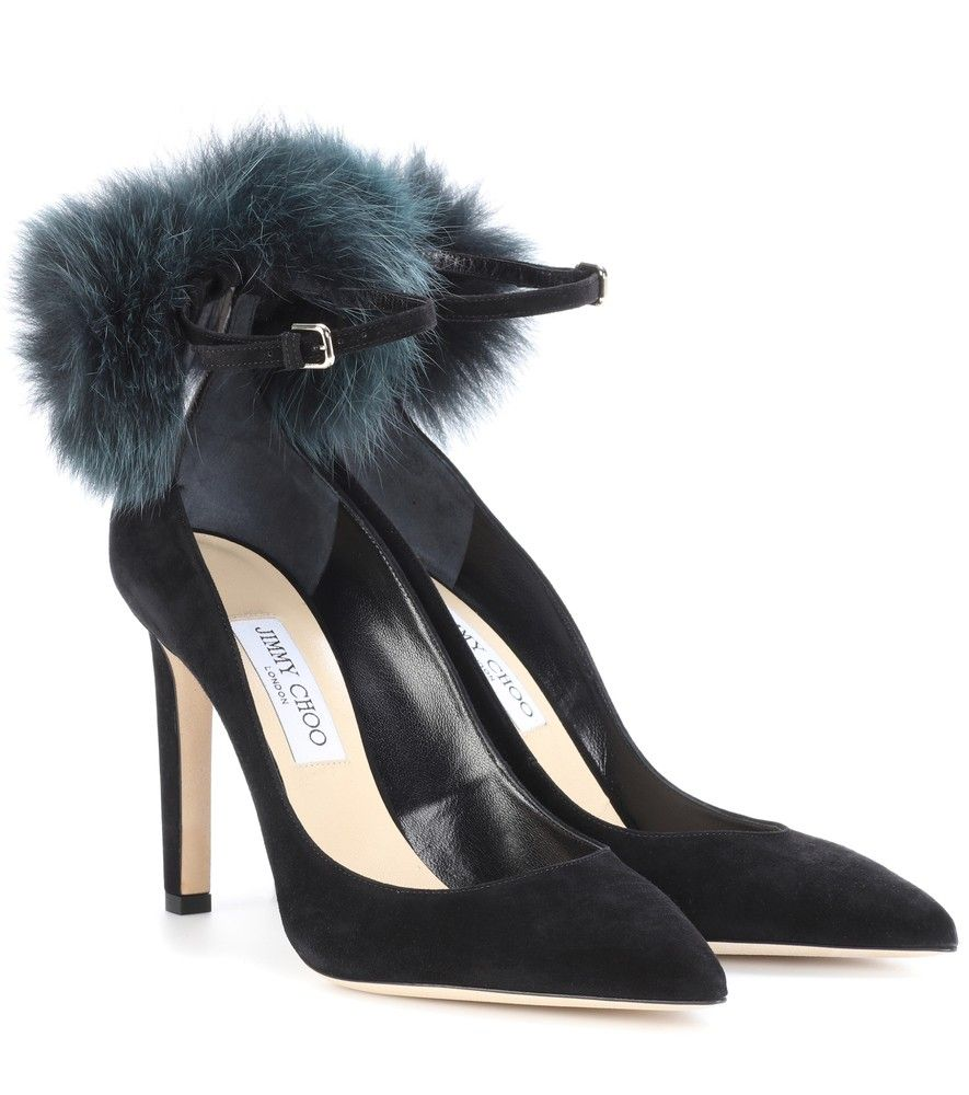 South 100 fur-trimmed suede pumps Jimmy Choo London