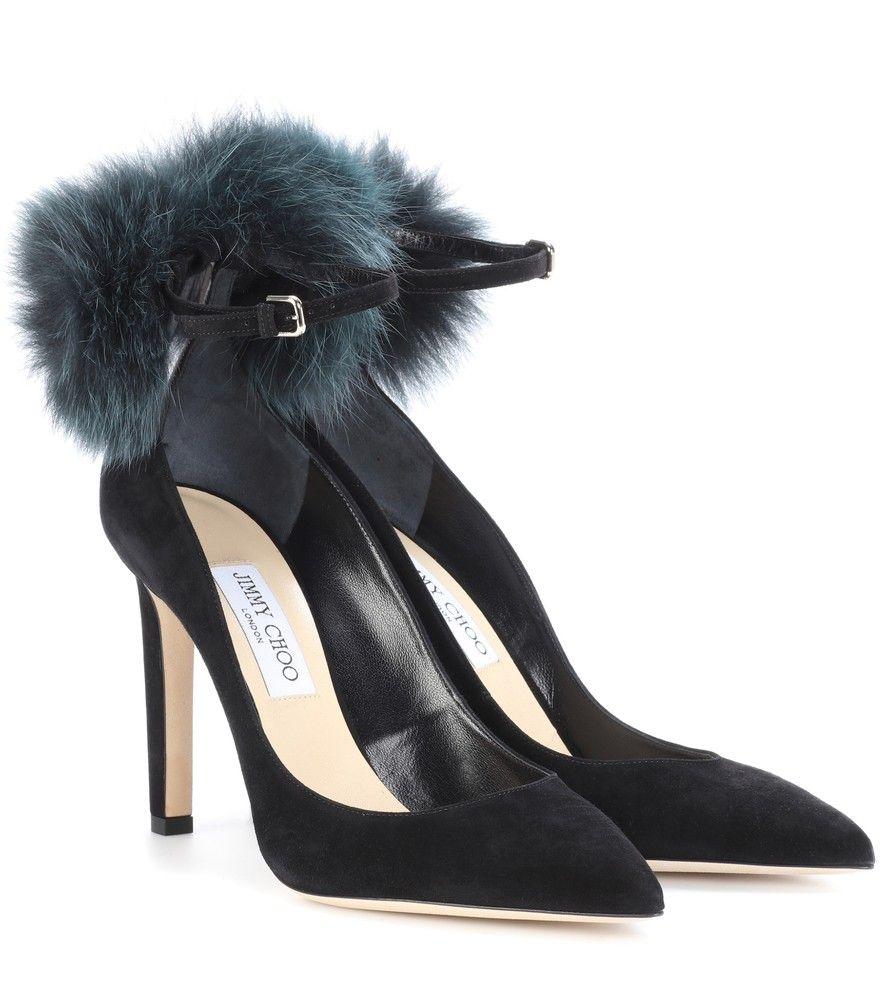 South 100 fur-trimmed suede pumps Jimmy Choo London 30Z4ftOfr