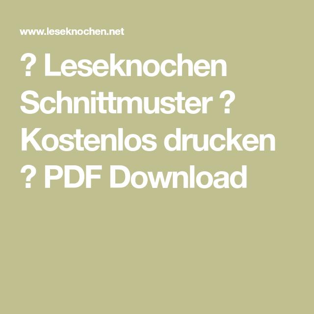 ᐅ Leseknochen Schnittmuster ᐅ Kostenlos drucken ᐅ PDF Download ...