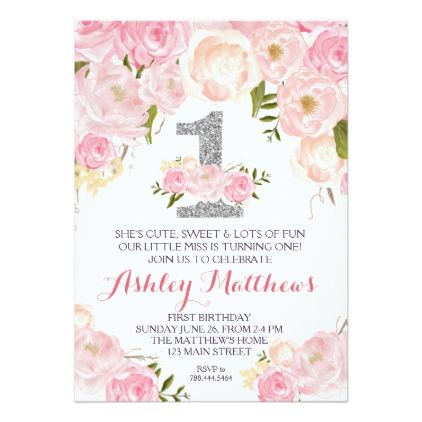 1st birthday first beautiful floral invitation invitation 1st birthday first beautiful floral invitation card birthday cards invitations party diy personalize customize celebration stopboris Images