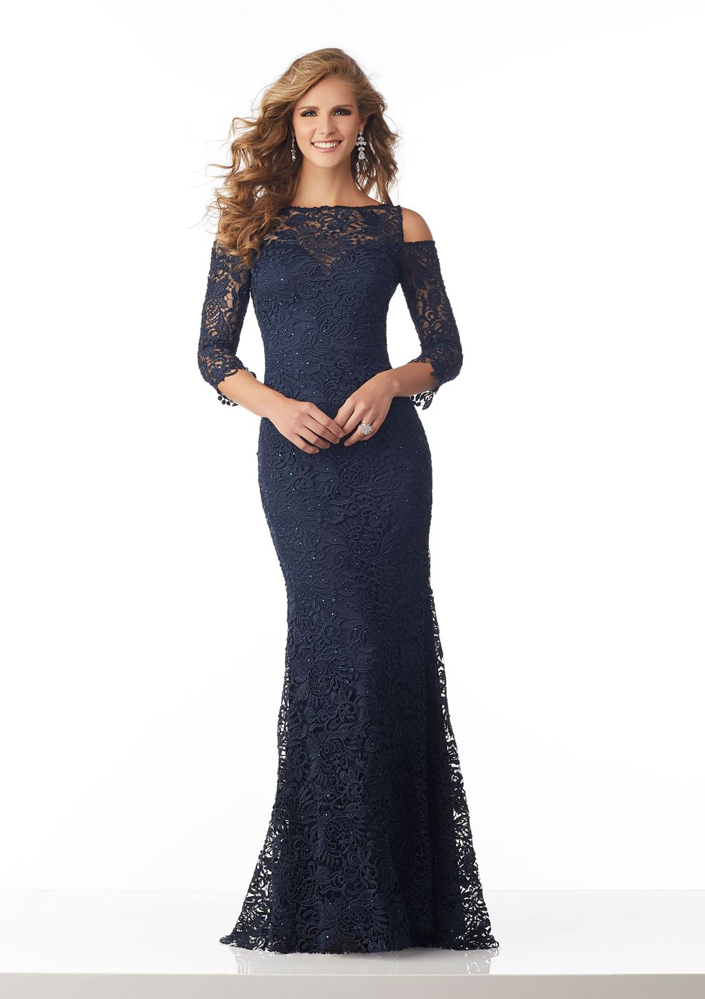 4eab17fbc3e This MGNY by Mori Lee 71814 navy blue mother of the bride gown is styled in beaded  lace