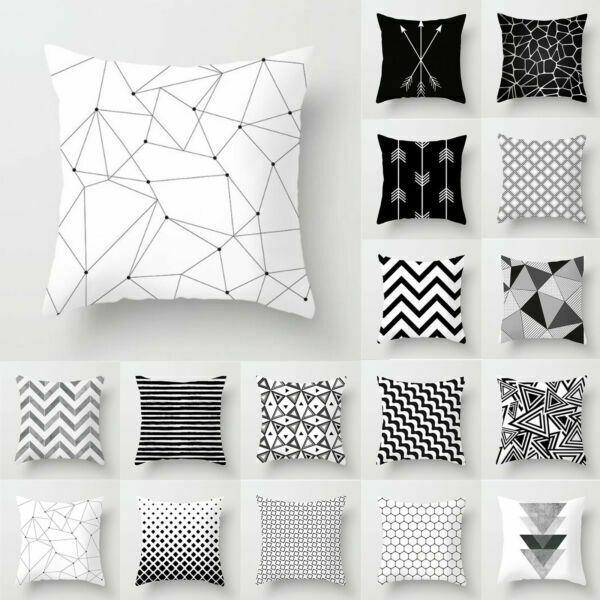 Black /& White Geometric Throw Pillow Case Cushion Cover Square Sofa Home Decor