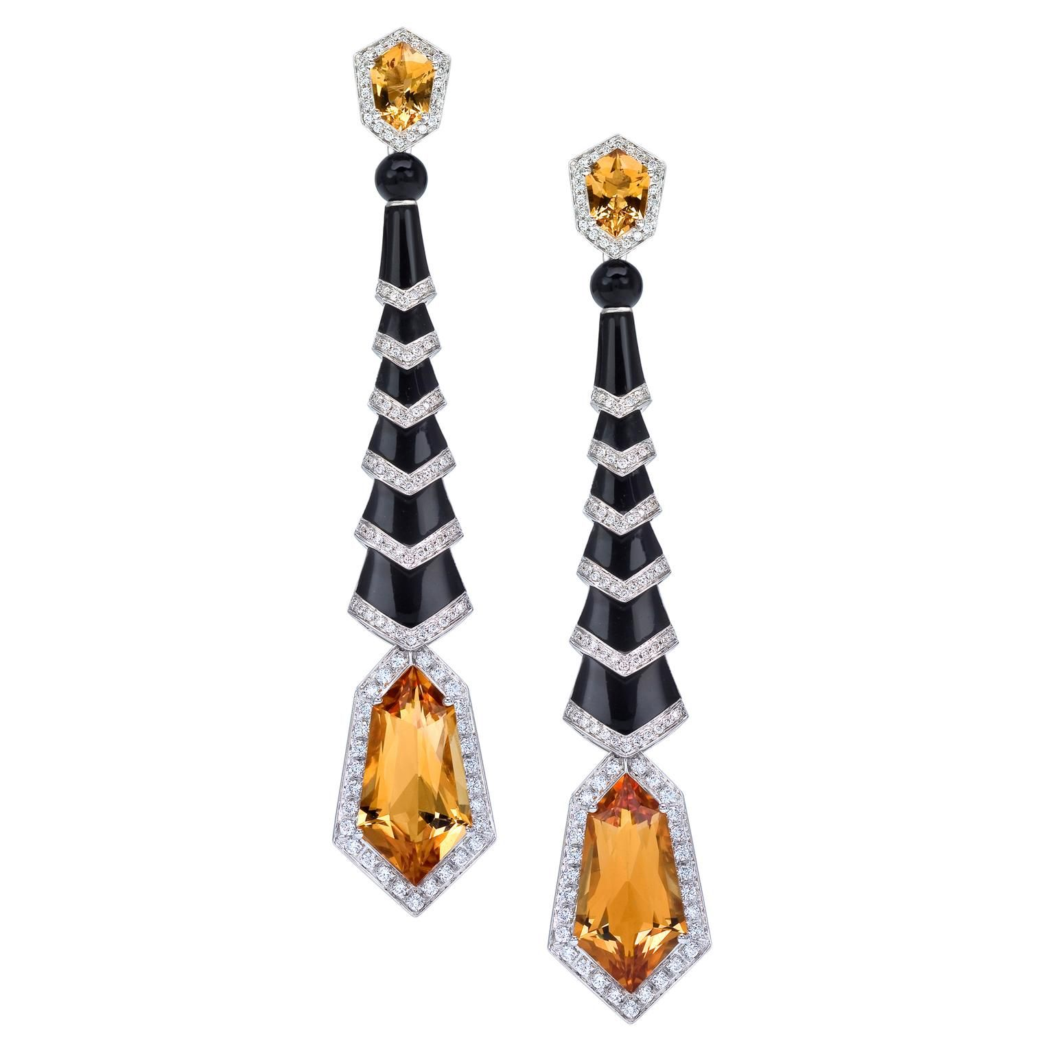 Gatsby earrings with yellow citrine and black onyx #biju #bijuteria #bijuterias
