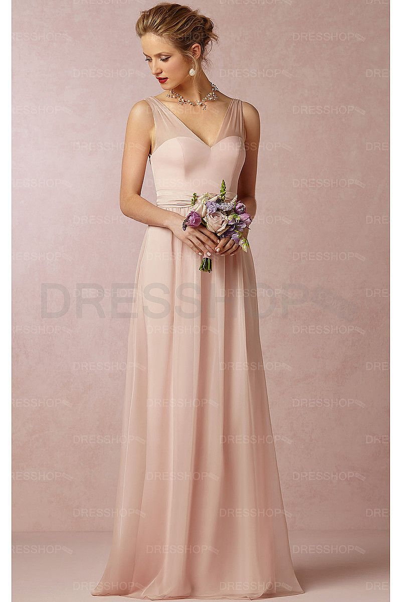 Pearl Pink Chiffon V-neck A-line Floor-length Bridesmaid Dresses ...