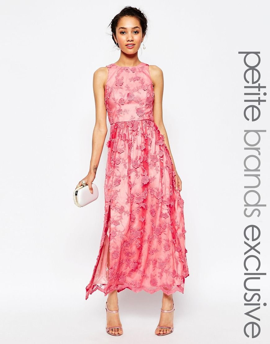 7b9251dc5 Image 1 of Chi Chi London Petite Embroidered Halter Neck Maxi Dress