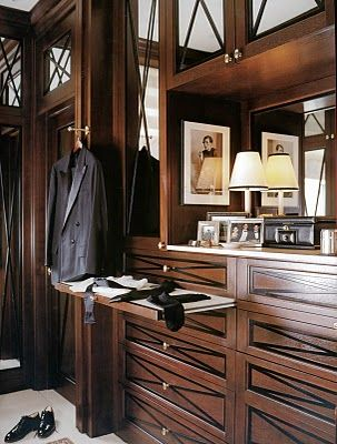 Gents Closet/Dressing Room with custom cabinets