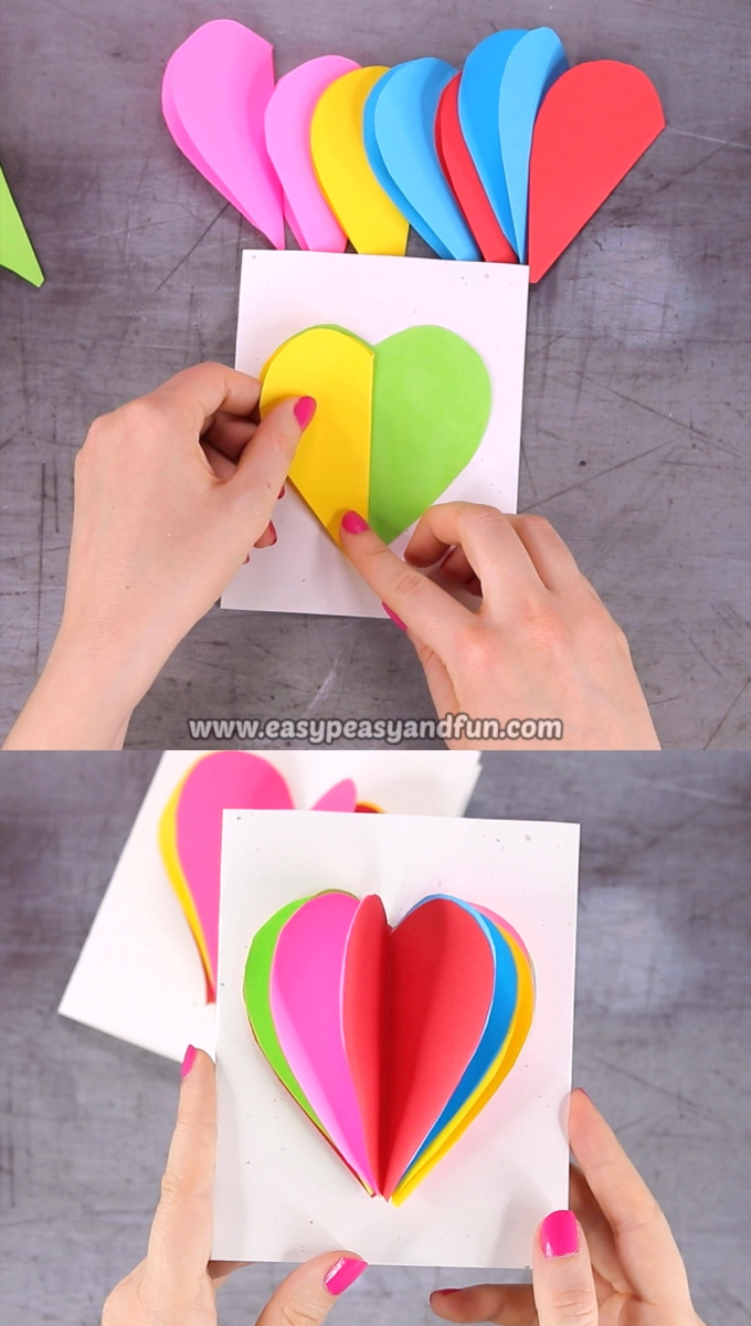 This bright and colorful Valentine's day card will brighten up someone's day without a doubt. Print our 3D heart card template and make your own card in no time!