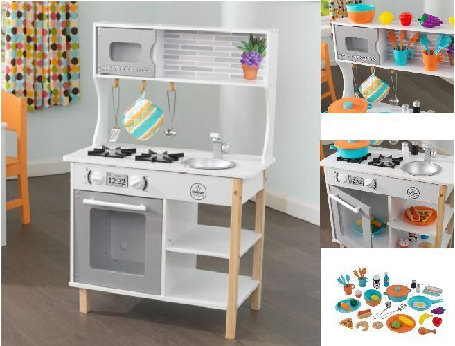 Kids Wood Kitchen Toy Cooking Pretend Play Set Toddler Wooden Playset 38 Pieces Kidswoodkitchentoy