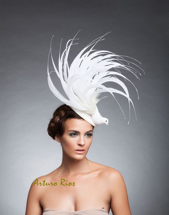 Off white Bird Fascinator Fur felt headpiece by ArturoRios  7440f5d334f