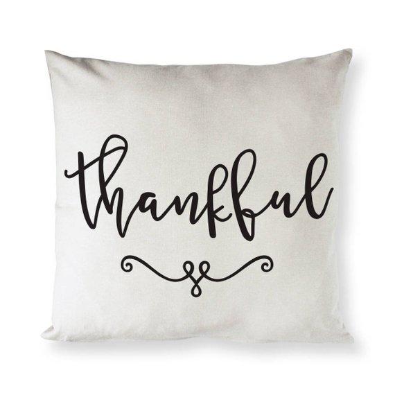 Thankful Cotton Canvas Pillow Cover Pillowcase Cushion And Throw Decorative Pillowcase Fall Tha Pillows Etsy Pillow Covers Pillow Covers