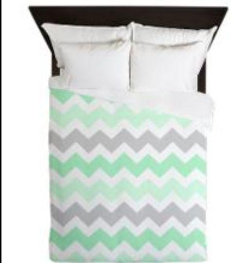 mint green grey chevron queen duvet | chevron bedding, green