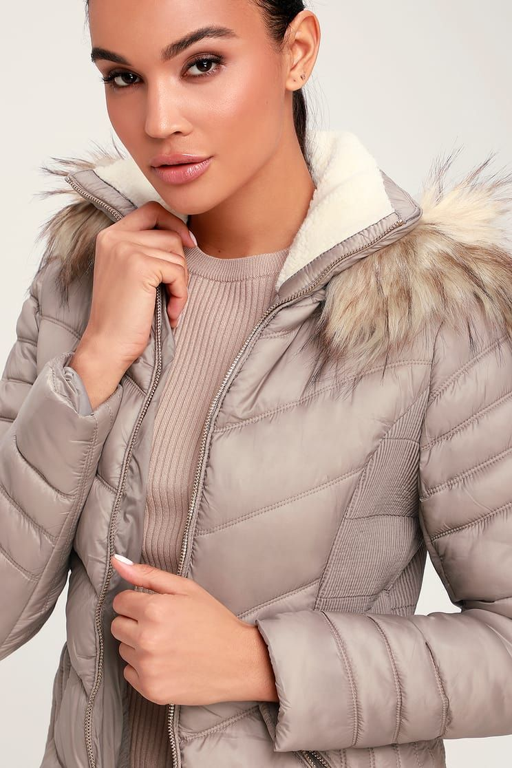 Snowy Slopes Taupe Faux Fur Hooded Puffer Jacket [ 1116 x 744 Pixel ]