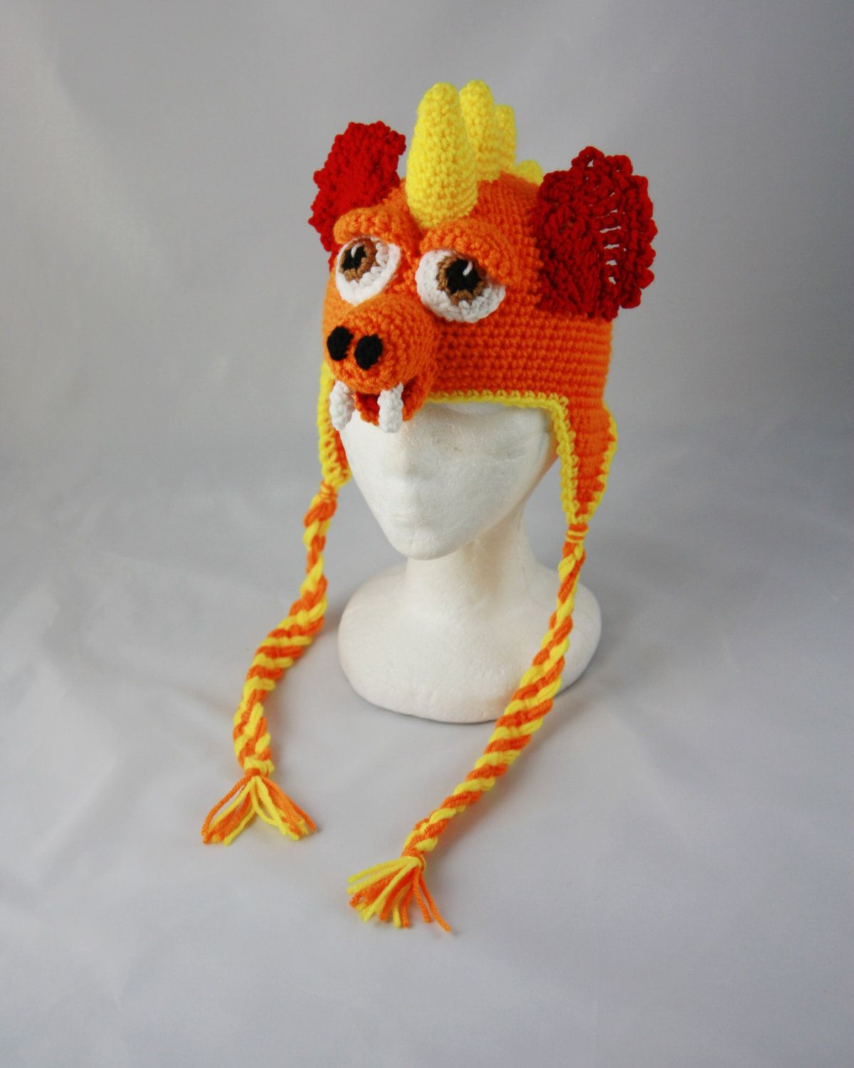 Dragon Earflap Beanie - Any Size - Any Color Combo. $35.00, via Etsy.