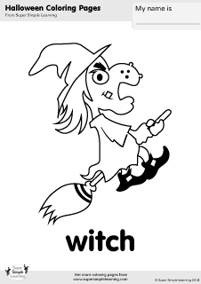 Free witch coloring page from Super Simple Learning Tons of