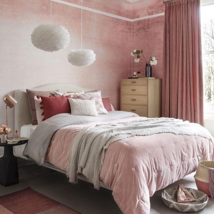 Astuces Et Idées Pour Choisir Un Papier Peint Chambre Tendance - Chambre adulte rose et gris