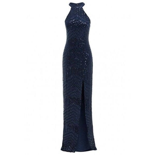 aa95761dcfe D.Anna Halterneck Sequin Embellished Maxi Dress in Navy ( 220) ❤ liked on