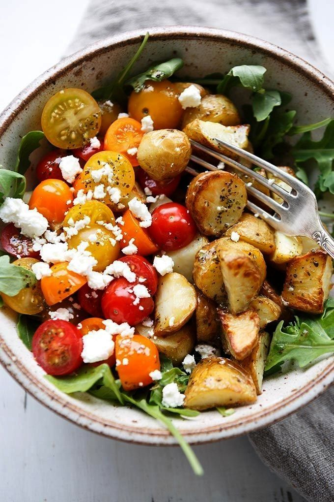 Power Bowl with Garlic Olive Oil Dressing - Cooking Carousel -  Italian Potato Power Bowl with Garl