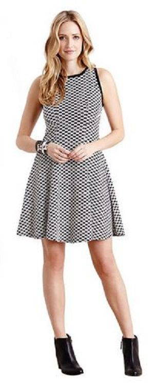 DESERT WEAVE FLARE DRESS Leave a lasting impression at your next evening event in this Karen Kane dress featuring a flared silhouette with a dramatic textured pattern in bold black and white #Karen_Kane #Black_and_White #Summer_2014 #Fashion