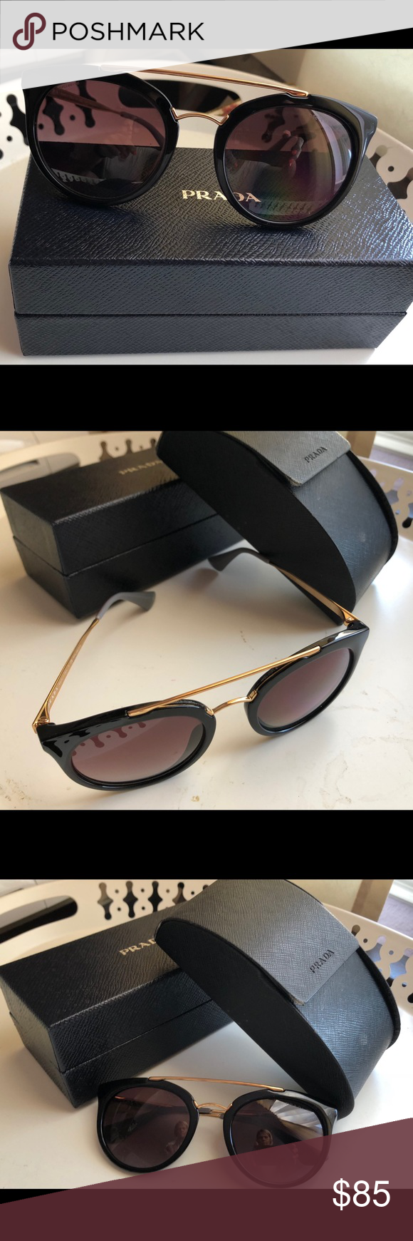 3c6f13eed9a8 Prada Sunglasses polarized spr23s Prada Cinema Cat Eye sunglasses. Tenderly  preowned. My case reflects the most wear but I did save the original box it  came ...