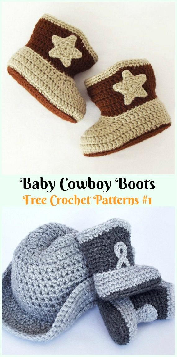 Crochet Ankle High Baby Booties Free Patterns Tutorials #crochetbabyboots