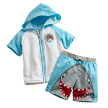 Kohls Baby Boy Clothes Prepossessing Baby Bunz Shark Swim Trunks & Cover Up Set  Babykohl's Baby Design Inspiration