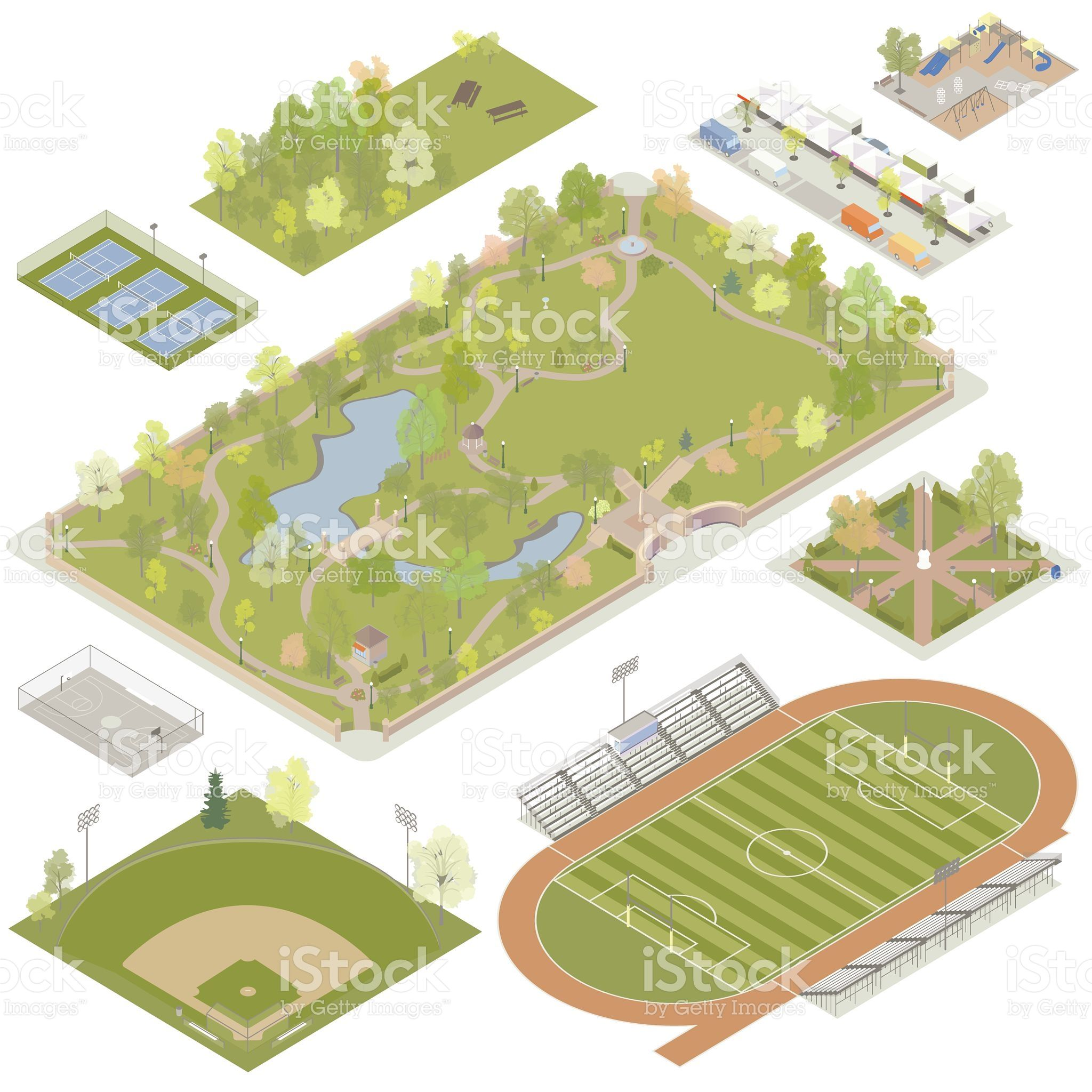 Illustrations Of Detailed Parks Plazas And Playgrounds Include 公園 イラストレーション ベクターイラスト