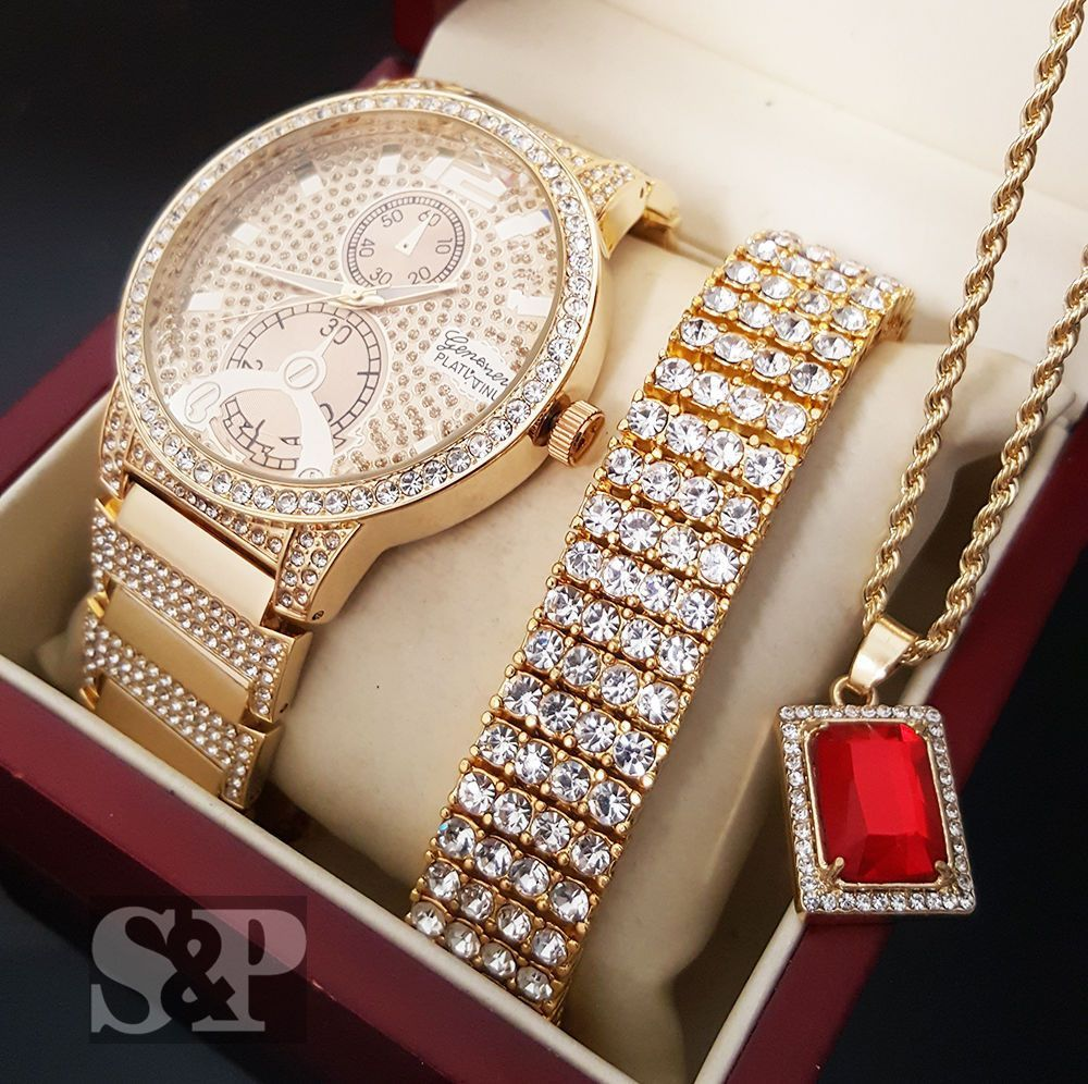 Iced out gold pt simulated diamond watch bracelet u necklace set