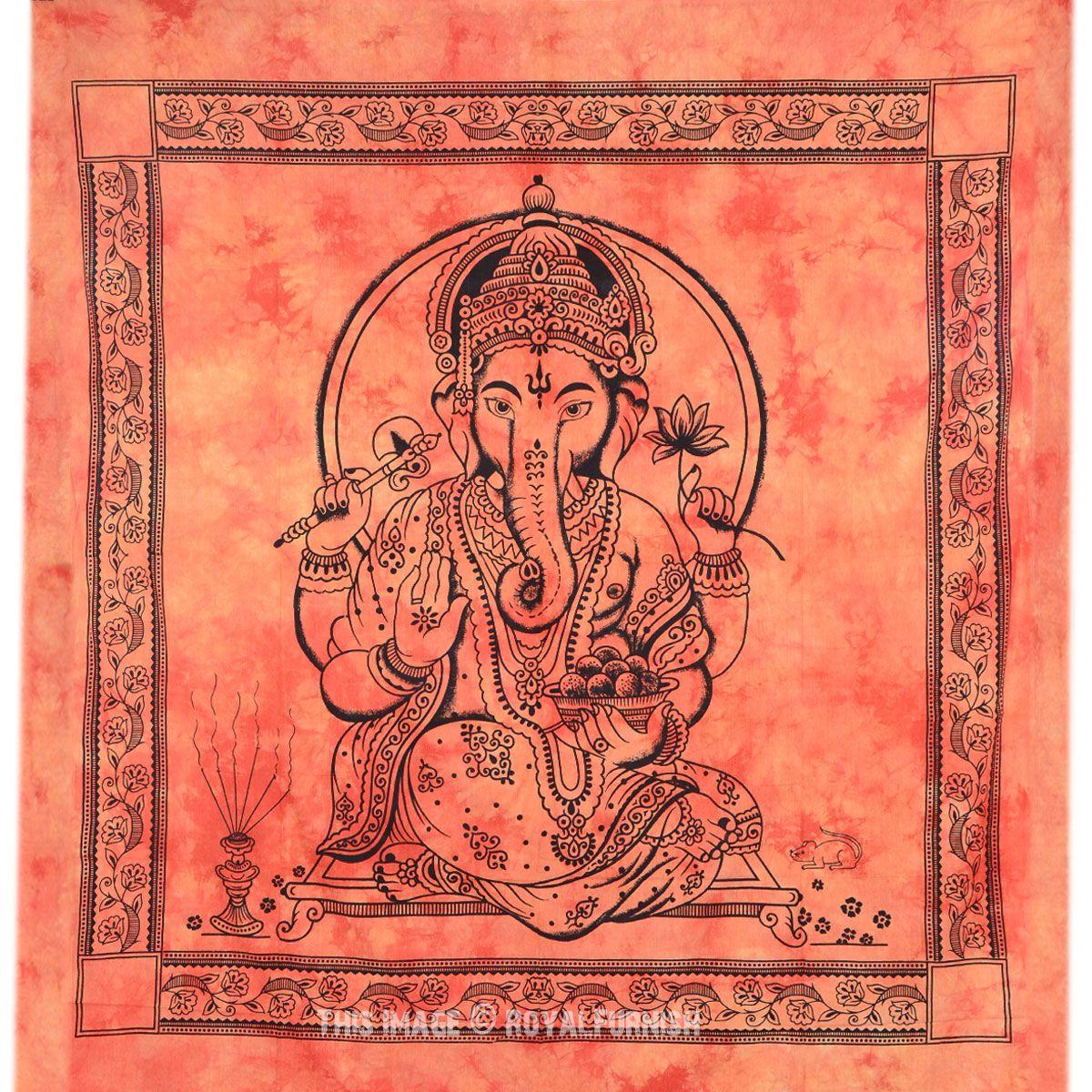 Large Orange Tie Dye Lord Ganesha Tapestry Wall Hanging Tapestry Wall Hanging Wall Tapestry Cool Tapestries