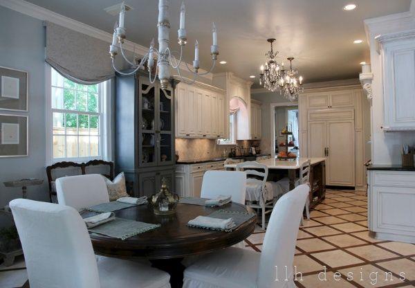 Kitchen plus eating area, Neutral Colors, White Cabinets, Dark Wood, Wood Tile Diamond Design Pattern.