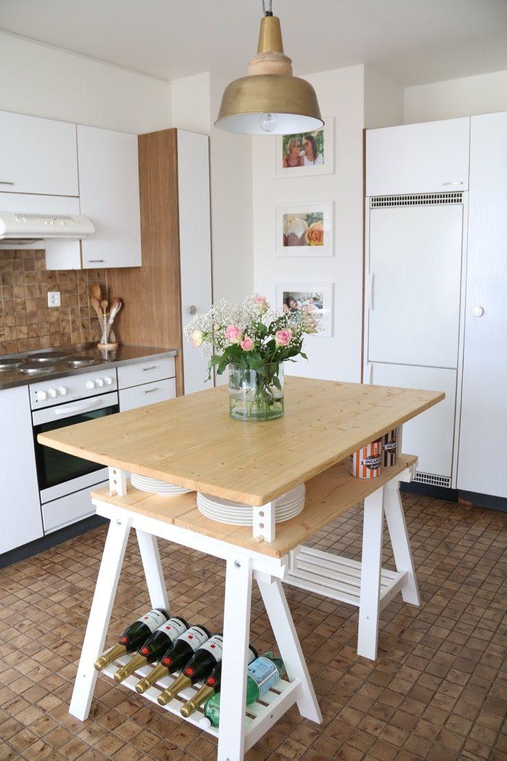 DIY kitchen island from IKEA desk + extra top Diy