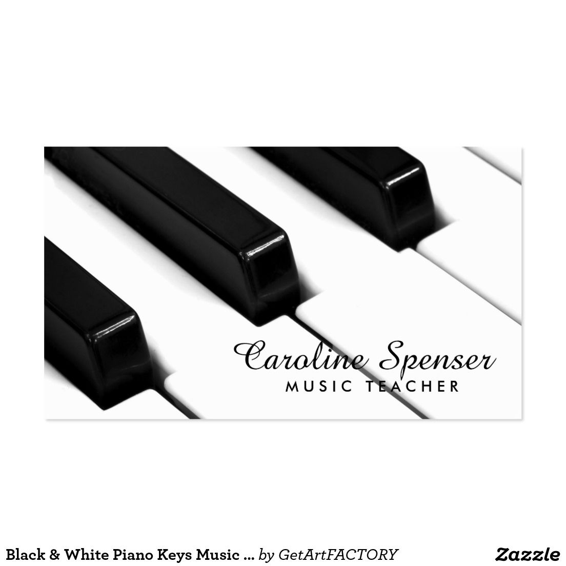 Black & White Piano Keys Music Teacher Card | White piano, Piano ...