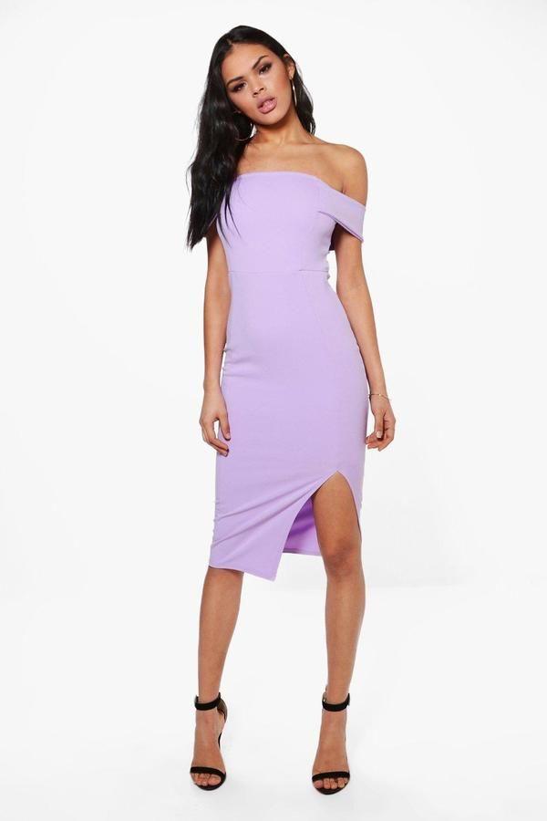 boohoo Anna Off The Shoulder Side Split Midi Dress | Boohoo ...