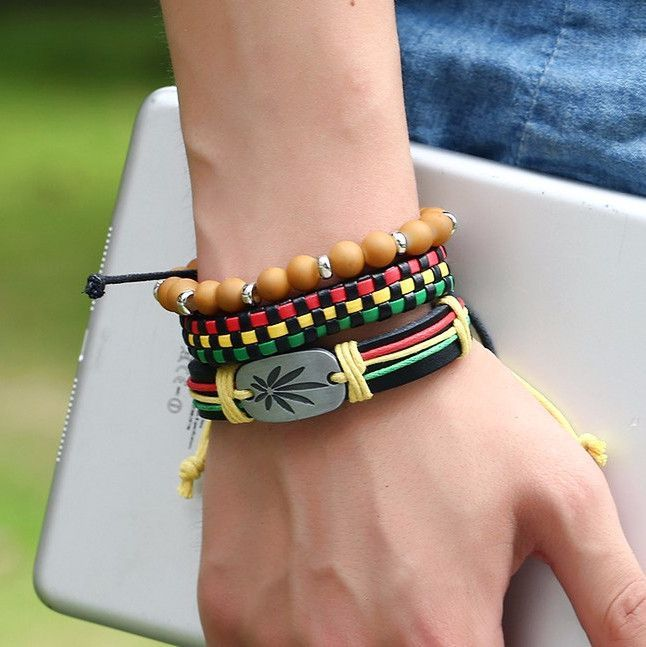 Rastafarian Hemp Charm Bracelet