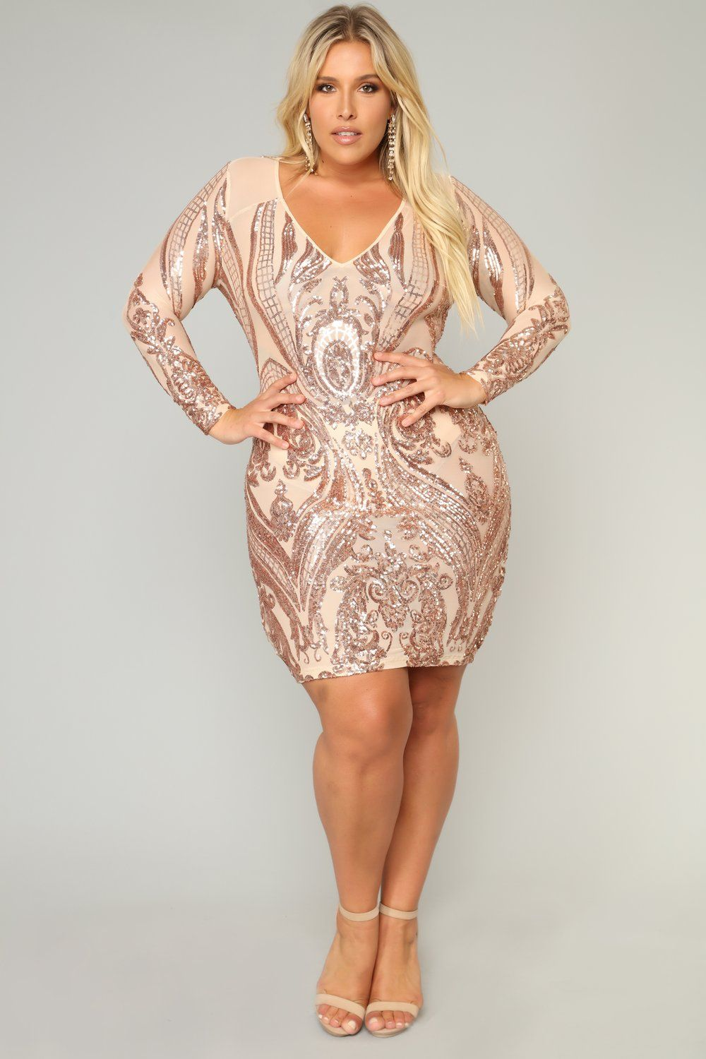 499f9ef9d4e2 Miss Fortune Sequin Dress - Nude/Rose Gold in 2019 | Plus size ...
