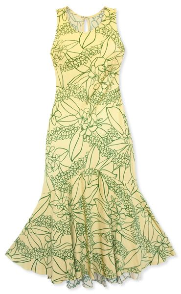 kula yellow lehua hawaiian dress