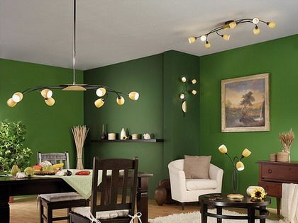 Un living comedor en color verde living comedor for Colores para living 2016