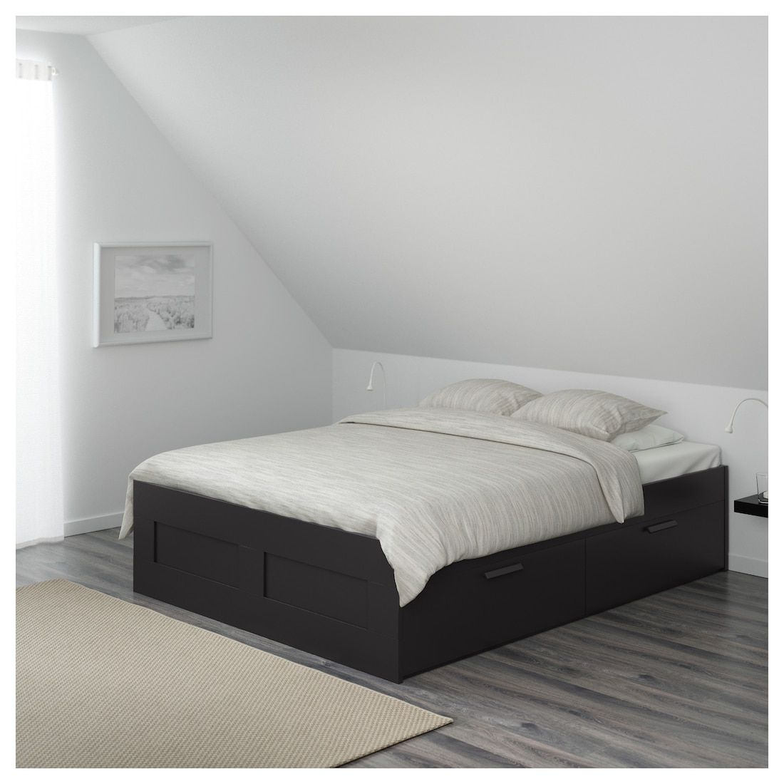 Brimnes Bed Frame With Storage Black Luroy Queen Bed Frame