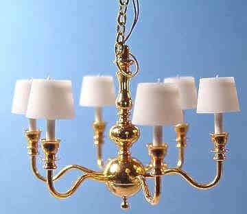 Working 6 arm chandelier with shades by clare bell brass 140 working 6 arm chandelier with shades by clare bell brass 140 2 3 aloadofball Choice Image
