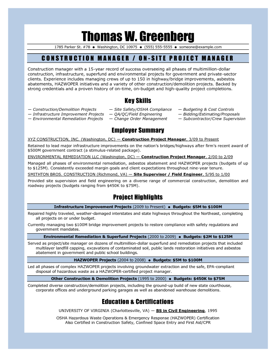 11 Sample Resume For Project Manager Construction | Riez Sample ...