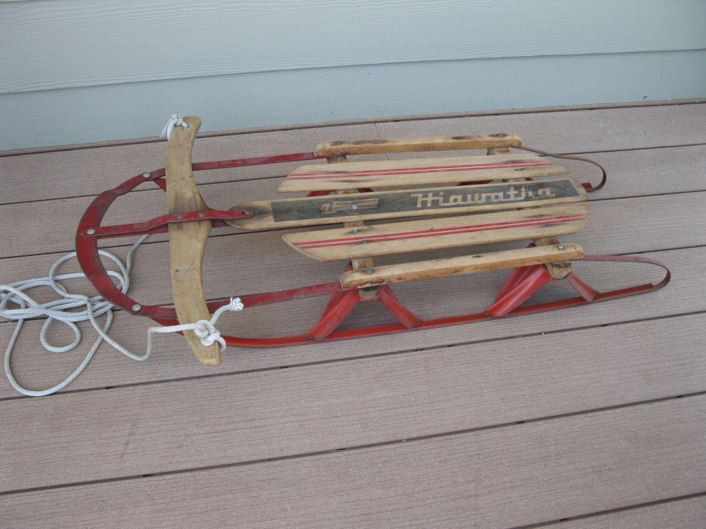 Super Cute Childrens Wood Sled Hiawatha 37 Steerable Metal