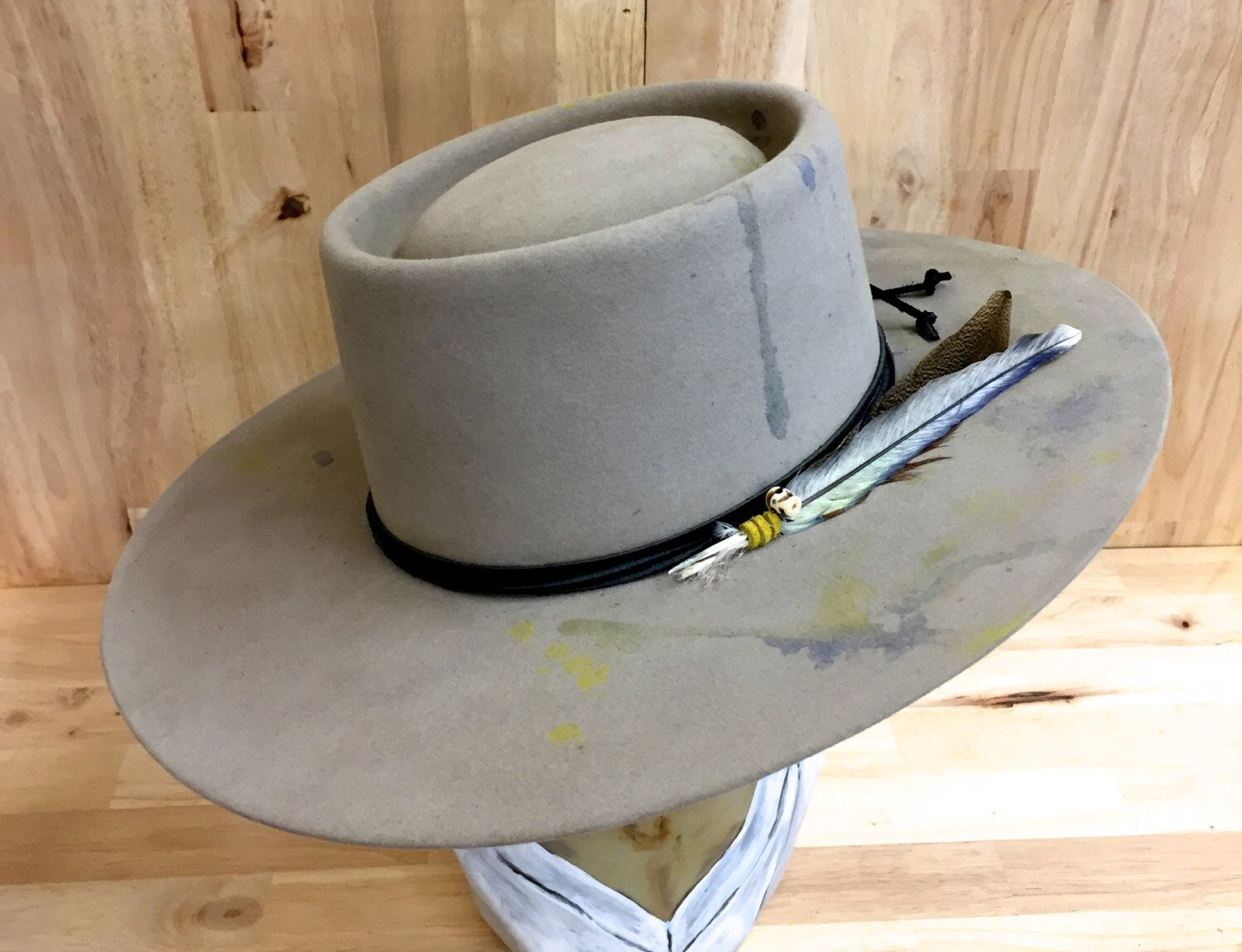 western gambler telescope crown mens hat in beaver blend fur felt hand dyed  silver belly by 67e9df11a3e
