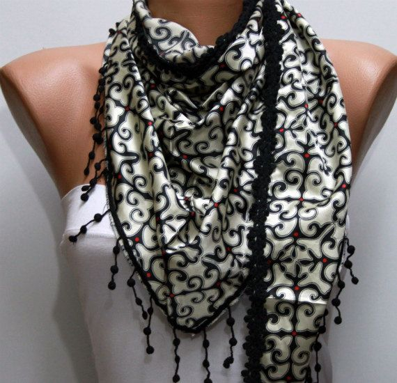 Black Shawl Scarf   Cowl with Lace by fatwoman on Etsy, $17.00
