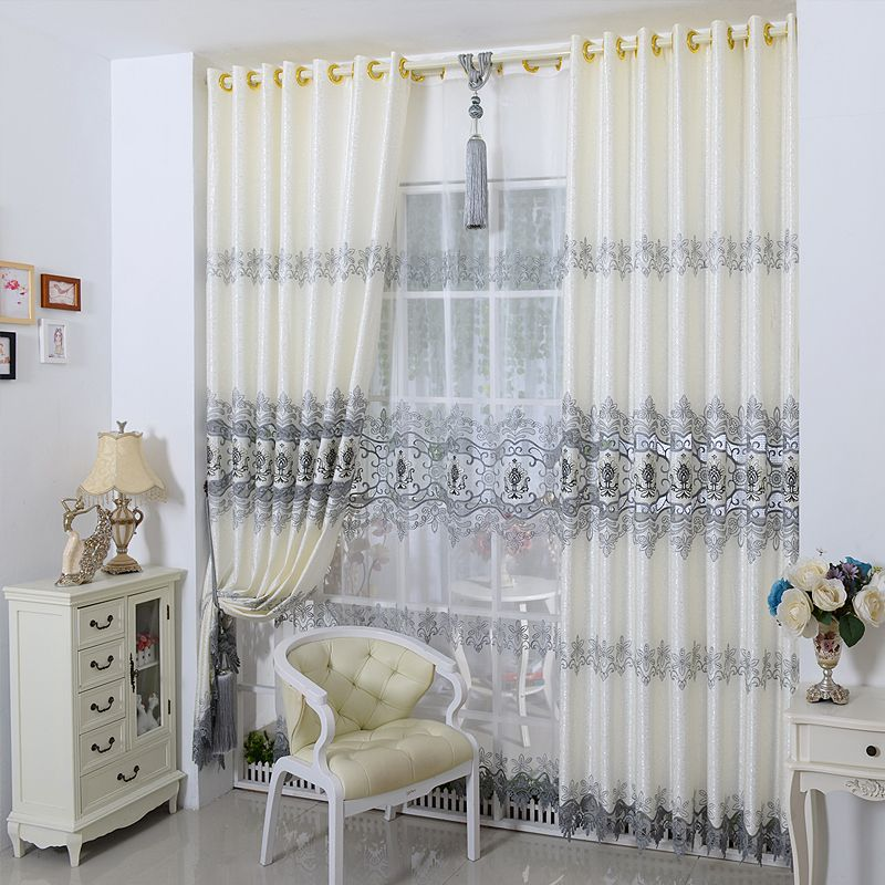 New Europe Embroidered tulle Window Curtains For living Room ...