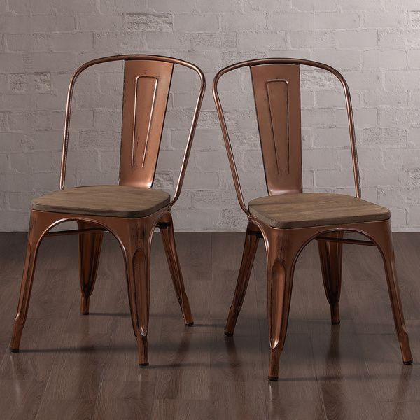 Copper Set Of 4 Metal Wood Counter Stool Kitchen Dining: Tabouret Brushed Copper Wood Seat Bistro Chairs (Set Of 2